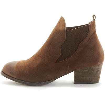 Wilma Brown Suede Slip On Ankle Boots, Brown