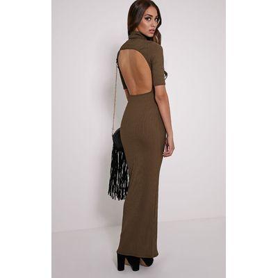 Daria Khaki Open Back Ribbed Maxi Dress, Green
