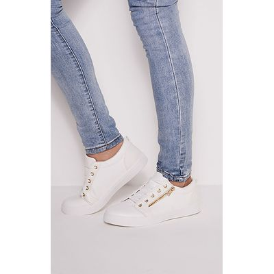 Rio White Casual Zip Detail Trainers, White