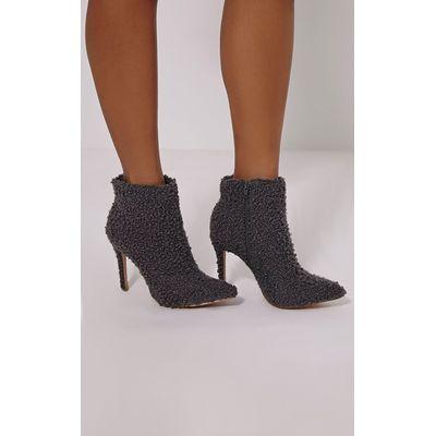 Harper Grey Faux Wool Ankle Boots, Grey