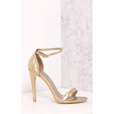 Clover Gold Holographic Strap Heeled Sandals, Yellow