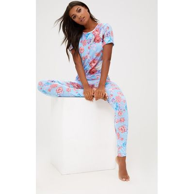 Blue Floral Long PJ Set, Blue