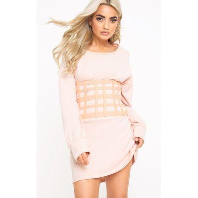 Nude Oversize Caged Corset Belt, Pink