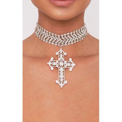 Ena Silver Diamante Detail Cross Choker, Grey