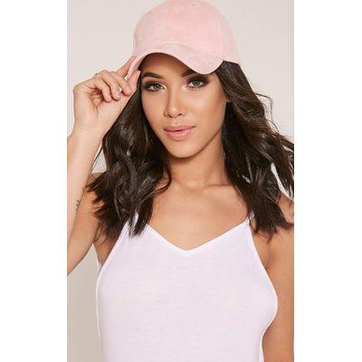 Faye Pink Faux Suede Baseball Cap, Pink