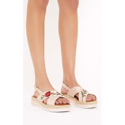 Lois Nude Rose Embroidered Sandals, Pink