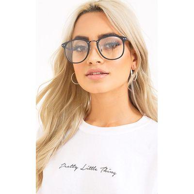 Oana Black Frame Clear Lens Glasses, Black