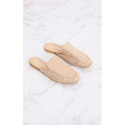 Nude Pearl Embellished Mules, Pink