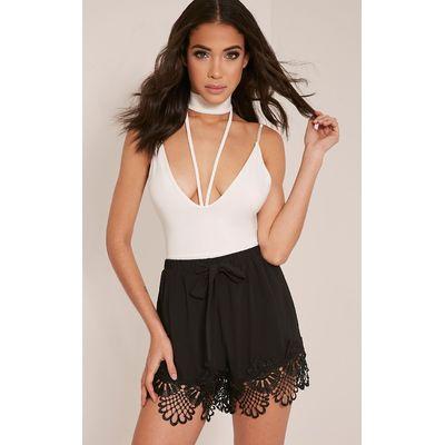 Felicity Black Crochet Lace Trim Shorts, Black