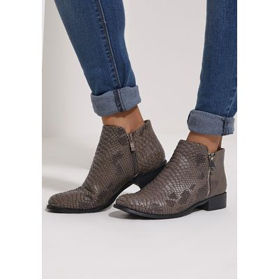 Grey Croc Effect Low Ankle Boots, Grey