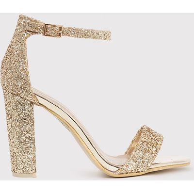 May Gold Glitter Block Heeled Sandals, Yellow