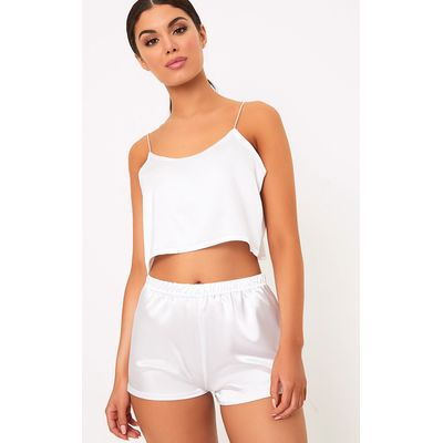 Issie White Satin Pyjama Shorts Set, White