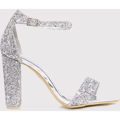 May Silver Glitter Block Heeled Sandals, Grey