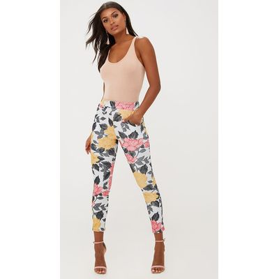 Grey Large Floral Skinny Trousers, Grey