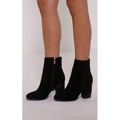 Yasmina Black Fringe High Ankle Boots, Black