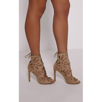 Jodey Stone Cut Out Lace Up Heels, White
