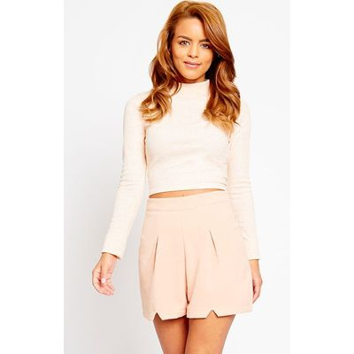 Raissa Nude Notch Front High Waist Shorts, Pink