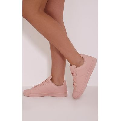 Chari Nude Casual Lace Up Trainers, Pink