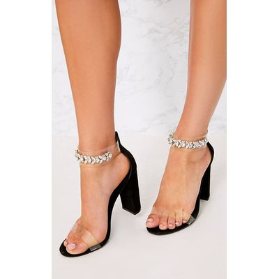 Kelle Black Jewelled Strap Heeled Sandals, Black