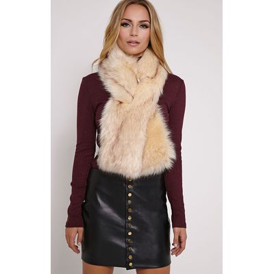 Toni Cream Faux Fur Scarf, White