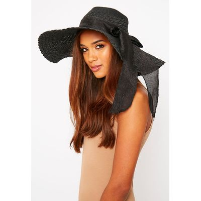 Henley Black Straw Floppy Hat, Black