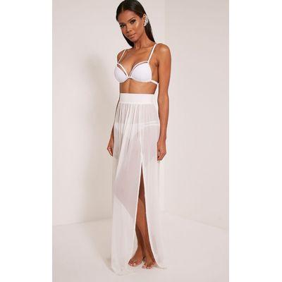 Minah White Mesh Maxi Skirt, White