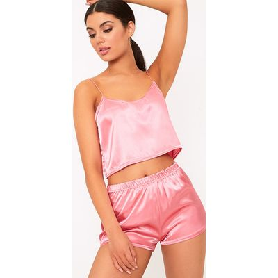 Issie Rose Satin Pyjama Shorts Set, Pink