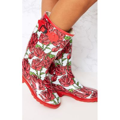 Red Rose Print Long Wellies, Red