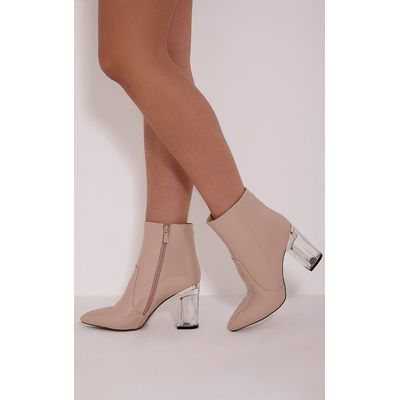 Kalia Nude Perspex Heel Ankle Boots, Pink