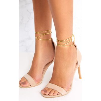 Nude Knotted Strappy Heels, Pink