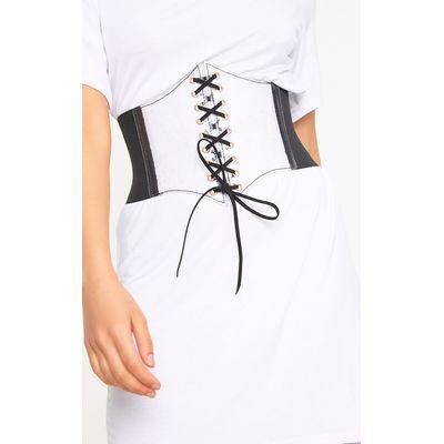 Black Transparent Front Lace Up Corset Belt, Black