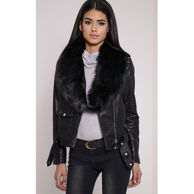 Kira Black Faux Fur Collar, Black