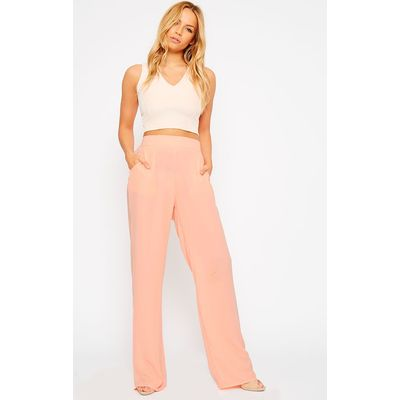 Theadora Peach Chiffon Wide Leg Trousers, Orange