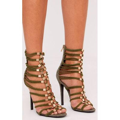 Fern Khaki Rope Detail Gladiator Heels, Green
