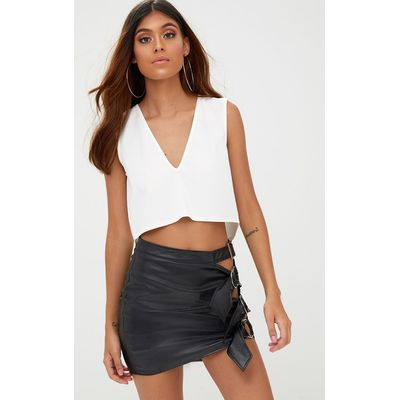 Cream Split Back V Neck Crop Top, White