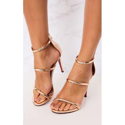 Marthea Rose Gold Tube Strap Heeled Sandals, Pink