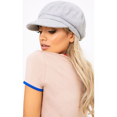 Light Grey Baker Boy Hat, Grey