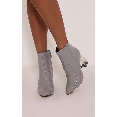 Kalia Grey Perspex Heel Ankle Boots, Grey