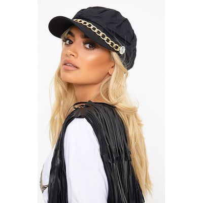 Black Chain Baker Boy Hat, Black