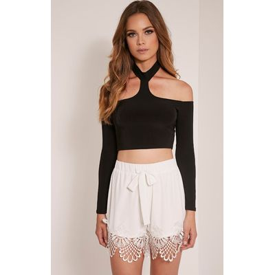 Felicity White Crochet Lace Trim Short, White
