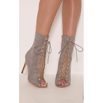 Elina Grey Lace Up Open Toe Ankle Boots, Grey