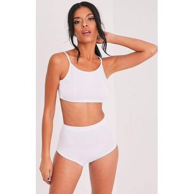 Basic White Bralet & Knicker Co-Ord, White
