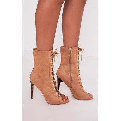 Elina Camel Lace Up Open Toe Ankle Boots, Camel
