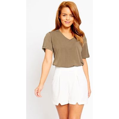 Raissa Ivory Notch Front High Waist Shorts, White