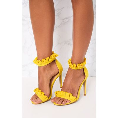 Bright Yellow Frill Strap Heels, Yellow