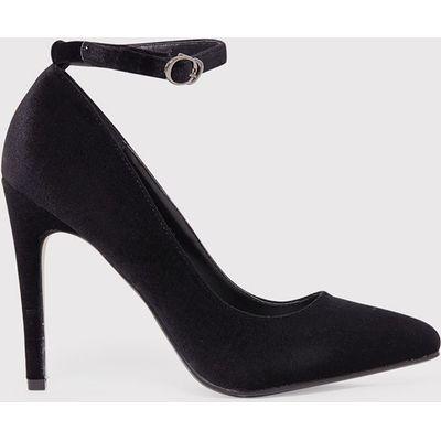 Demmi Black Velvet Strap Court Shoes, Black