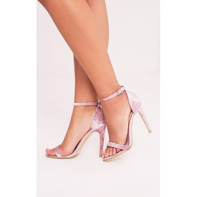 Clover Blush Velvet Strap Heeled Sandals, Pink