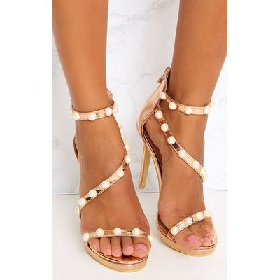 Rose Gold Pearl Strap Heels, Pink