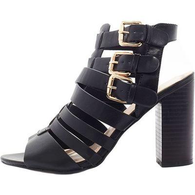 Bryn Black Strappy Wooden Heeled Sandal, Black