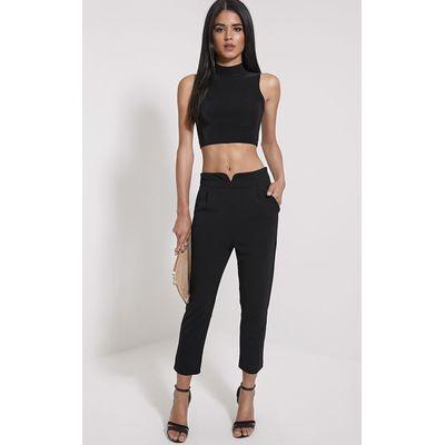 Neri Black Notch Front Trousers, Black